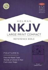 NKJV Large Print Compact Reference Bible, Purple LeatherTouch (2013,...