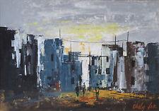 Shaul Ohaly Post-Modern Urban Landscape, Gouache, Board Mounted, Israel c.1960s