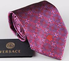 """NWT VERSACE silk TIE floral violet red magenta made in Italy 3.54"""""""