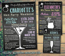 10 Personalised Hen Party Weekend Invite Itinerary Birthday Cocktail Chalkboard