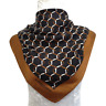 Roberta di Camerino Square Scarf Black Brown Belts Gauze Vintage Silk34""