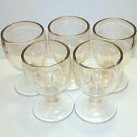 Vintage Wine Glasses Clear Set of 5 Goblets Thick Stem Heavy 5.5 inches Tall