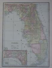 1889 Florida Original Color Atlas Map* 129-years-old!