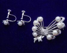 vintage brooch MIKOMOTO (silver, with akoya pearl) bonus-silver earring clips
