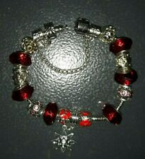 European Style Red Bead Bracelet with Stopper Bead/Clip & Safety Chain