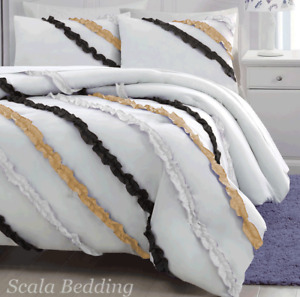 3 Piece Side Ruffle Duvet Cover Set 1000 TC Egyptian Cotton King Size all Colors