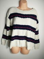WOMENS RIVER ISLAND CREAM NAVY PINK STRIPE KNIT OVER SIZE JUMPER SWEATER UK 10