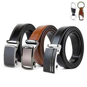"Mens Genuine Leather Automatic Buckle Belt, S (32"") to 10XL (60"") Ratchet Belt"