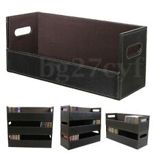 CD DVD Disk Storage Box Leather Case Holder Tray Stacking Shelf Space Organizer
