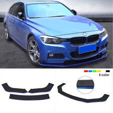 Universal ABS Front Bumper Lip Spoiler Splitters Glossy Black w/ Blue Line 3PCS