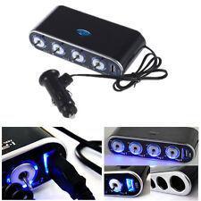 4 Way Port Car USB Cigarette Lighter Socket Splitter Charger Adapter+ LED Switch