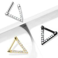 EDGY TRIANGLE//BEAD BRASS SEPTUM NOSE DAITH CARTILAGE RING HOOP 16G PIERCING