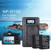 2PCS NP-W126 1200mAh Camera Battery for FUJIFILM XH1 XT20 + LCD Dual USB Charger