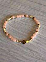 "Vintage Crown Trifari Gold Tone, Pink, White Beaded Bracelet 7"""