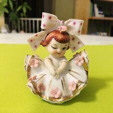 Vintage Lefton Big Bow Winking Girl Figurine Valentine Girl Japan Pink Gold