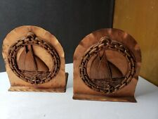 VINTAGE CHIPPEWA COPPER HAND HAMMERED BOOKENDS ARTS AND CRAFTS W NAUTICAL MOTIF