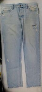 JEANS Von Zipper sz 34 Light/Bleach wash-cut/distress-button-front straight leg