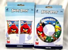 "Angry Birds 22"" Inflatable Floating Ring & Angry Birds 6"" Arm Floats-Brand New!"