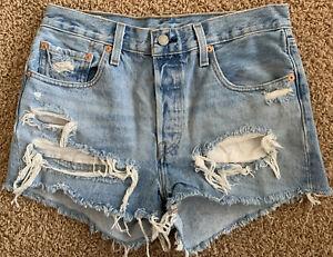 New Levi's 501 Jean Shorts Destroyed High Waist Cut-Off Cotton Denim Women 28