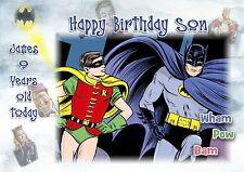 Personalizado Cumpleaños Tarjeta Batman Y Robin Marvels Gran Formato A5 hijo Nieto