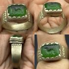 Unique Ancient Roman Glass intaglio beautiful Old bronze Ring