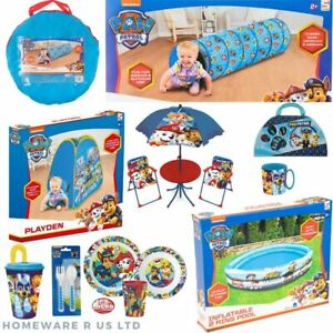BOYS PAW PATROL GARDEN POOL TUNNEL POP UP TENT DINNERWARE PICNIC TABLE CHAIR CUP