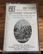 Antonio Vivaldi Concerti For Recorder, Strings & Continuo, Op. 10 Cassette New!
