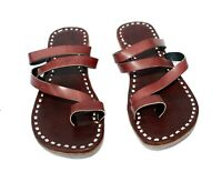 Womens brown leather flats slippers sandals flip flops slides handmade in India