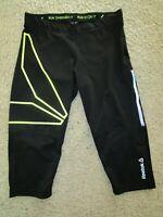Women's REEBOK Capris Tights SpeedWick Black/Neon Running Run OV3R IT Size M