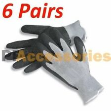 6 Pair Black Cotton LATEX String Knit Work Glove Size L for Industrial Warehouse