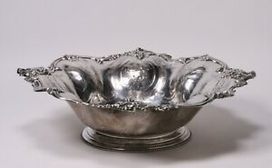 Large Ornate French Silver 950 Centerpiece Bowl - Grapes - Emile Hugo 19th Cent.