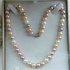 7-8mm Genuine Natural White Pink Purple Akoya Cultured Pearl Necklace 18""