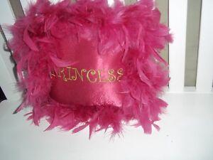 Princess Small Pillow LikeNew Girls  Hot Pink  Irridescent Feathers Hanger