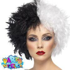 cbfa9ed2ea Evil Madame Wig Black White Halloween Hair Fancy Dress Dalmatian Smiffys  42117