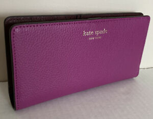New Kate Spade New York Eva Large Slim Bifold Leather wallet Baja Rose