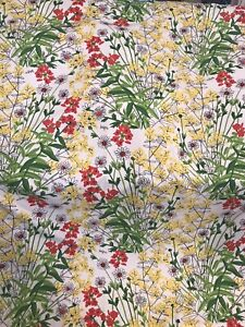 """🐞Vera Neumann Floral Shower Curtain: Yellow, Green, White And Red. 68""""x71"""""""