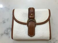 DOONEY & BOURKE White Pebble Leather w/Brown Leather Trim Trifold Wallet NWD