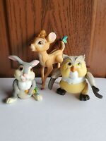 Vintage Disney Bambi Thumper Owl PVC Figure Cake Toppers Set of 3 Posable
