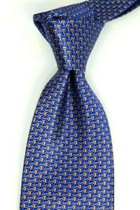 $165 SANTOSTEFANO Satin Navy Neat w/ Red & Gold Geometric Silk Neck Tie NWT