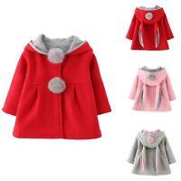 Toddler Baby Girl Kids Winter Warm Rabbit Ear Bunny Hooded Coat Jacket Outerwear