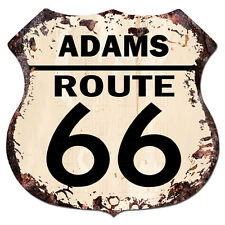 BPHR0039 ADAMS ROUTE 66 Shield Rustic Chic Sign  MAN CAVE Funny Decor Gift