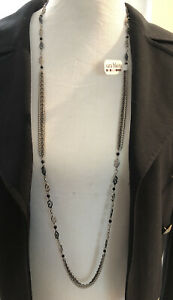 Sara Blaine 42 inch SS Oxidized Black Multi Chain With Faceted Gemstones