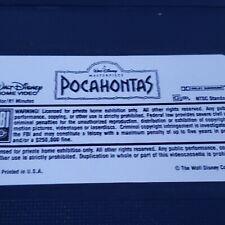 Pocahontas VHS tape