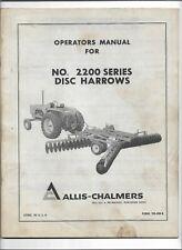 Original Oe Allis Chalmers No 2200 Series Disc Harrows Operators Manual Tm 436b