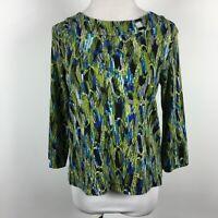Rafaella Petite Medium PM Knit Top Abstract Peacock Feather 3/'4 Slv Stretch