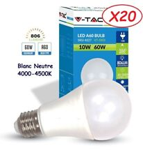 Lot de 20 Ampoules LED V-TAC Culot E27 10W (éq. 60W) 806lm angle 200° lumière b