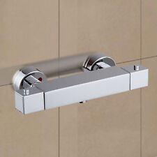 Premium Square Thermostatic Shower Bar Valve in Chrome Exposed Bathroom Mixer UK