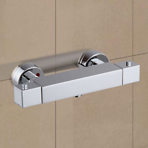 Square Thermostatic Shower Bar Mixer Valve Tap Chrome Bathroom Twin Outlet