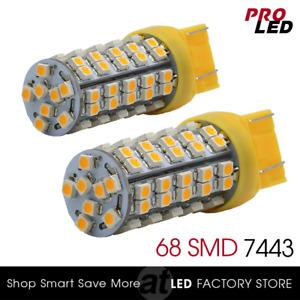 2X 7443 7440 Amber Yellow Front Turn Signal LED Light bulbs