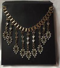 Choker Faux Mini Pearls Princess Cut Rhinestones Box Goldtone Dangle Necklace